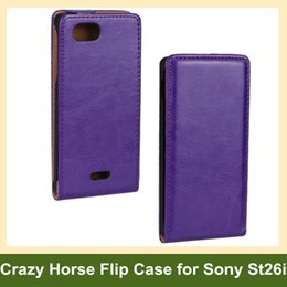 Wholesale J St26i - Wholesale Elegant Crazy Horse Pattern PU Leather Flip Cover Case for Sony Xperia J ST26i with Magnetic Snap Free Shipping