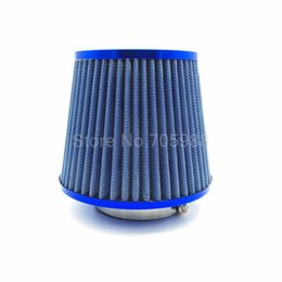 "Wholesale Intake Hoses - Universal 3"" 76mm BLUE Air Intake Filter Height High Flow Cone Cold Air Intake Performance intake hose Kit filtro de ar esportivo"