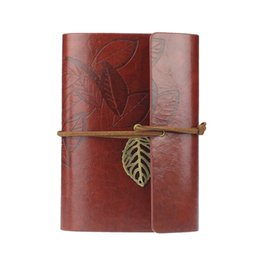 Wholesale Diary Covers - Wholesale-Supperior Vintage Leaf Leather Cover and Loose Leaf Blank Notebook Journal Diary Writting July15