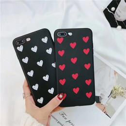 Iphone 6s peau noire en Ligne-Motif noir et rouge Heard Soft TPU ultra drôle en caoutchouc Retour Coque Coques pour téléphones Transparent pour iPhone X 6 / 6S / 7/7 8 Plus