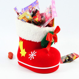 Wholesale Santa Boots Decorations - 12pcs lot Mini 9*6*10cm Santa Boot Style Candy Bags Fairy Flocking Shoes Gifts Holders Christmas Festival Favors HX438