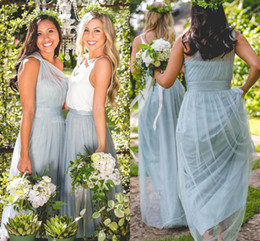 Wholesale One Shoulder Backless Maxi Dress - 2017 Maxi Dusty Blue Tulle Bridesmaid Dresses One Shoulder Floor Length Maid Of Honor Forest Wedding Party Wear Cheap Hot Sale