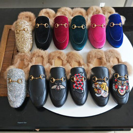 Wholesale Gold Bricks - Fall And Winter Ladies luxury fur mule slippers ladies leather flat Suede mule shoes love shoes fashion outdoor slippers
