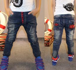 Wholesale Jeans Pant Style Boys - Retail new spring Boys jeans pants elastic Waist children solid trousers wild Kids jeans children boy denim pants Free Shipping 01
