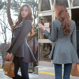 Wholesale Korean Blazers - Fashion Women Korean Dovetail Slim Wool Coat Ladies Designer Irregular Long Blazer Winter Outwear 2016