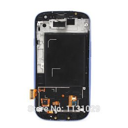 Wholesale Touch Screen S3 Frame - Wholesale-Blue originali 9300 lcd display digitizer assmebly For Samsung Galaxy S3 I9300 touch screen Digitizer with frame Free shipping