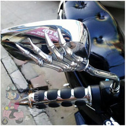 Wholesale 8mm Mirrors - Free Shipping Brand New Motorcycle Mirror Chrome Motorcycle Skull Mirror 8MM,10mm For Harley Softail Dy Universal type free shipping