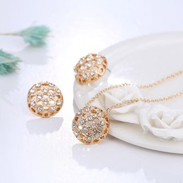 Wholesale Two Girls Necklace - Jewelry Wholesale Fashion Jewelry Set Gold Alloy Crystal Two-piece Set (Necklace + Earrings) Lady Set Factory Direct