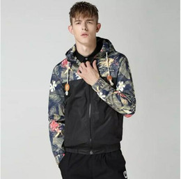 Wholesale White Mandarin Jacket - M-4XL Man's Hooded Hoodies Patchwork Hooded Mens Jackets Floral Windbreaker Jacket Men Fashion Bomber Jacket