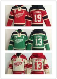 Hoodies de hóquei Jerseys Wings jerseys homens 9 Howe 40 Zetterberg vermelho hóquei no gelo de costura Jerseys Sports Camo jersey vermelho verde ordem da mistura de