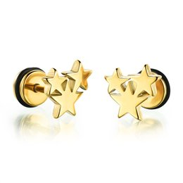 Wholesale Stainless Steel Mens Stud Earrings - Solid Stainless Steel 3 Stars Stud Earrings Set Tunnel Plug Fashion Mens Jewelry, Silver Black Gold