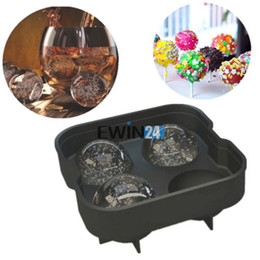 Wholesale Chocolate Ball Mold - Silicone Ice Cube Ball Maker Mold 4 Cup For Pudding Chocolate Jelly Mold Party Bar New