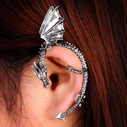 Wholesale Metal Earring Clip - Gothic Punk Rock metal Twine dragon earrings without piercing Stud Wrap Fly Dragon Ear Cuff Clip Earring european fashion order<$18no track