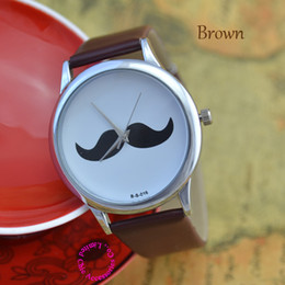 Wholesale Mustache Watches - Wholesale-Coupon for wholesale buyer price good quality popular cute girl lady woman silver beard wristwatch mustache wrist watch hour