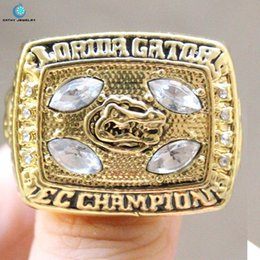 Wholesale Enamel Alloy Ring Jewelry - 1996 University of Florida Gators football championship rings Enamel Crystal Gold Pleated Ring Men Jewelry