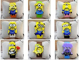 Wholesale Minions Watches - 2016 New fashion cartoon Despicable ME2 Kids Yellow Minion clap watch wholesale Wristwatches children God steal dads students DHL freeship