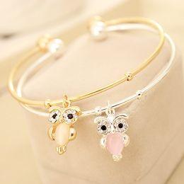 Wholesale White Opal Bangle Bracelet - Charm Bracelets Women Fashion Bangles Cuff Bracelet Jewelry bracelet Charming Cute Opal Crystal Owl Pendant Gold Silver Alloy Bangles