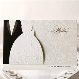 Wholesale Wedding Card Envelope Designs - 2016 New Personalized Design White The Bride and Groom Dress Style Invitation Card Wedding Invitations Envelopes Sealed Card Top Quality