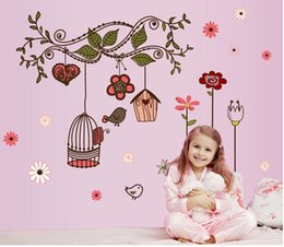 Wholesale Tree Vines Flowers Wall Decals - Factory Price European flower vine Birdcage Tree diy Removable Wall Stickers home decor 7102 Mural Parlor Kids Bedroom House