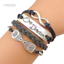 Wholesale Direction Infinity Bracelet - Infinity Wish One Direction Owls Owl Charm Wrap Bracelets Leather Wax Bracelets Unisex kid child girls Women Fashion Gift Custom