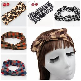 Wholesale Tie Head Bands - 50pcs Checks Turban Twist Head Wrap Printed plaid Hair accessory for women children Headwrap headband Hair Tie hair band Photo Prop FD6548
