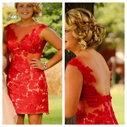 Wholesale Short Cocktai Dresses - 2015 Plus Size Homecoming Dresses Sheer Neck Backless Red Lace Appliques Sheath Short Prom Party Gowns Pageant Cocktai Dresses for Women
