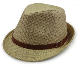 Wholesale Sun Hat Bulk - Wholesale-Wholesale Men Plaid Paper Straw Fedora Hat Style Women Summer Fedoras Cap Cool Mens Sun Straw Caps Womens Straw Hats In Bulk