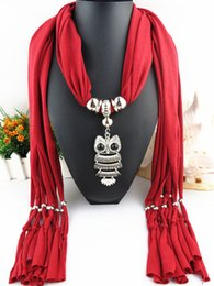 Wholesale Cotton Scarves Owl Pendants - 2016 New Fashion alloy jewelry pendant polyester jersey fringed scarves solid polyester Resin Owl pendant scarves 659y
