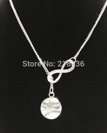 Wholesale Vintage Pendants For Necklaces - Infinity Baseball Softball Necklaces Pendant For Woman Vintage Silver Charms Choker Sweater Chain Necklaces Couple Punk Jewelry DIY HOT L449