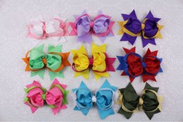 Wholesale Two Toned Baby Hair Bows - Wholesale 9pcs 5inches Baby Girl two tone mixed Ribbon Hair Bows Clip 2218-2226