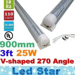 Wholesale Dlc Led Tube - 3ft V Shaped Led Lights Tubes T8 25W 900mm Cooler Door Led Tubes 270 Angle Transparent Cold White AC 85-277V UL DLC
