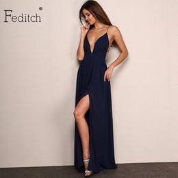 Wholesale Green Backless Maxi Dress - Wholesale- Feditch New Fashion 4 Color Deep V Neck Maxi Dress Women Sexy Backless Evening Party Dresses Nighrtclub Wear Vestidos Hot Sale