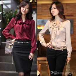 Wholesale chiffon blouses designs - Fashion Varabow Design Formal Wear 2016 New Office Lady Chiffon Blouse Size S-3XL Good Quality Charm Women Dress Shirt