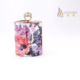 Wholesale Diamond Shaped Bottle - Wholesale-Diamonds Finger Ring perfume bottle shape Clutch women evening Bag party wedding flower print Designer brand handbags bolsa 8286