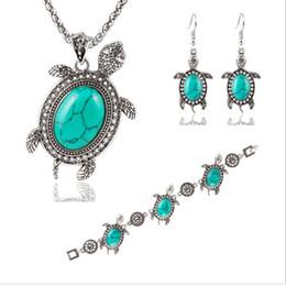 anel de esmeralda africano Desconto Mulheres animal brinco conjuntos de colar pulseira pouco azul Turtle conjuntos de jóias anel de Pedra Preciosa placa de prata nova chegada frete grátis