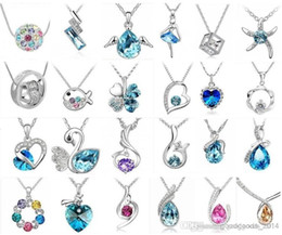 Wholesale Crystal Fashion Jewelry Wholesaler - Fashion jewelry High quality Austrian crystal CZ Diamonds pendant necklace women jewelry 24pcs Optional style Free shipping