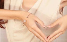 Wholesale Double Set Diamond - Full drill heart-shaped peach heart bracelet Gold-plated diamond-encrusted bracelet love Double peach heart bracelet free shipping HT59