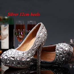 Wholesale Diamond Silver Heels For Wedding - Luxury Graduation Party Prom Shoes High Heel Silver Crystals Rhinestones Bridal wedding shoes Diamond Lady Shoes for Wedding Party