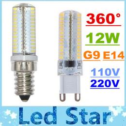 Wholesale G9 Led Cold White - 2015 New 104 Leds 12W Led Bulbs Light G9 E14 Mini Crystal Lamp 360 Degree Angle Led Corn Lights SMD 3014 Warm Cold White AC 110V 220V