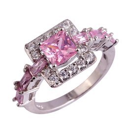 Wholesale Peridot 925 Ring - Wholesale-Wholesale Gorgeous Jewelry Princess Cut Pink Topaz & Citrine & Peridot & Amethyst 925 Silver Ring Size 6 7 8 9 10 Free