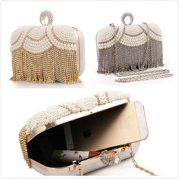 Wholesale Evening Party Elegant Purses - 2015 Hot Diamonds Wedding Bridal Clutch Bags Elegant Purse Lady Handbags with Pearls Cheap Evening Party Bags + Chain Free Shipping