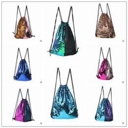 Wholesale Reversible Fabric - 8 Colors Mermaid Sequin Backpack Sequins Drawstring Bags Reversible Paillette Outdoor Backpack Glitter Sports Shoulder Bags CCA7890 50pcs
