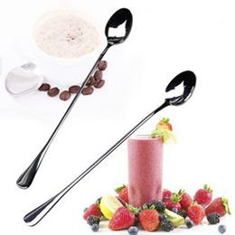 Wholesale Novelty Tea Spoons - 1Set 2PCS Novelty Stainless Steel Long Handle Tea Coffee Ice Cream Handled Spoons Flatware