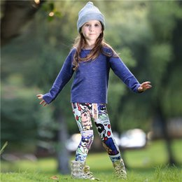 Wholesale Wholesale Childrens Outfits - Pettigirl Spring Girls Clothing Sets With Solid Top And Cartoon Pants Cotton Kids Girl Outfits For Childrens Clothing CS80813-72F