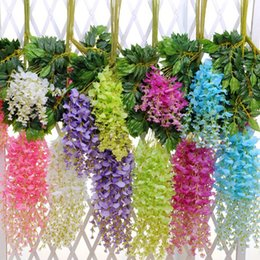 Wholesale Wisteria Home Decor - Artificial Hanging Flowers Take Photo Prop Beautiful Wisteria Flower Home Garden Wedding Decor Multi Colors 2 15xk C R