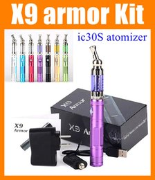 Wholesale E Cigarette X9 Kit - Original X9 & ic30S wax atomizer starter kit Huge Vapor 1300mah x9 armor kits E Cigarette X6 Upgaded Variable Voltage 3.3V 3.8V 4.1V TA219