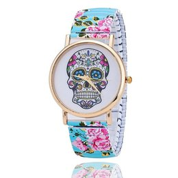 Wholesale Watches Skulls For Women - Fashion Flower Printed Spring Watch Stainless Steel Skull Skeleton Watch for Women Quartz Watch Relogio Feminino