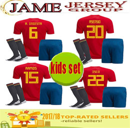 Wholesale Thailand Quality Soccer Jerseys Xxl - top Thailand Quality Spain kids Soccer Jersey home red 2018 ISCO PIQUE SERGIO RAMOS A. INIESTA M. ASENSIO THIAGO MORATA Spain boys kits