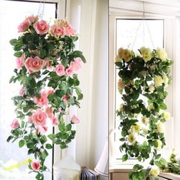 Wholesale Artificial Rose Vines Silk Flower - Brand New Fashion Silk Rose Flower Fake Artificial Ivy Vine Hanging Garland home Wedding Decor [FG03008*10]