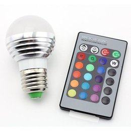 Wholesale E27 Led Remote Base - E27 Standard Screw Base 16 Colors Changing Dimmable 3W RGB LED Light Bulb with IR Remote Control for Home Decoration Bar Bulb Lights